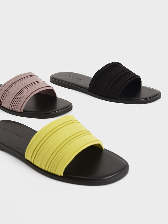Pleated Slide Sandals, Black, hi-res
