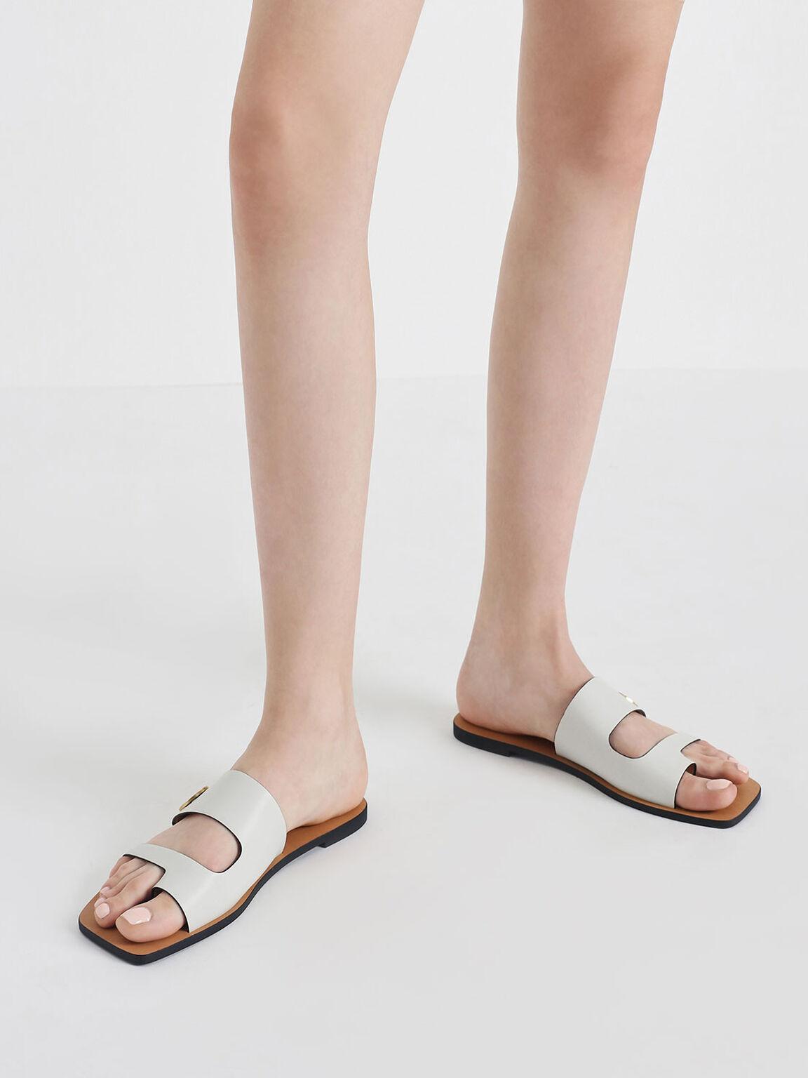 Gold Stud Detail Slide Sandals, Chalk, hi-res