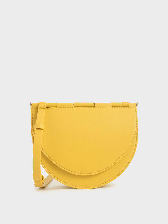 Semi-Circle Crossbody Bag, Yellow, hi-res
