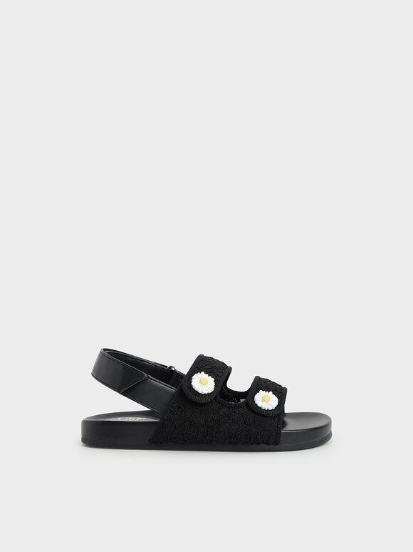 Girls' Lace Flower-Embellished Platform Sandals, Black, hi-res