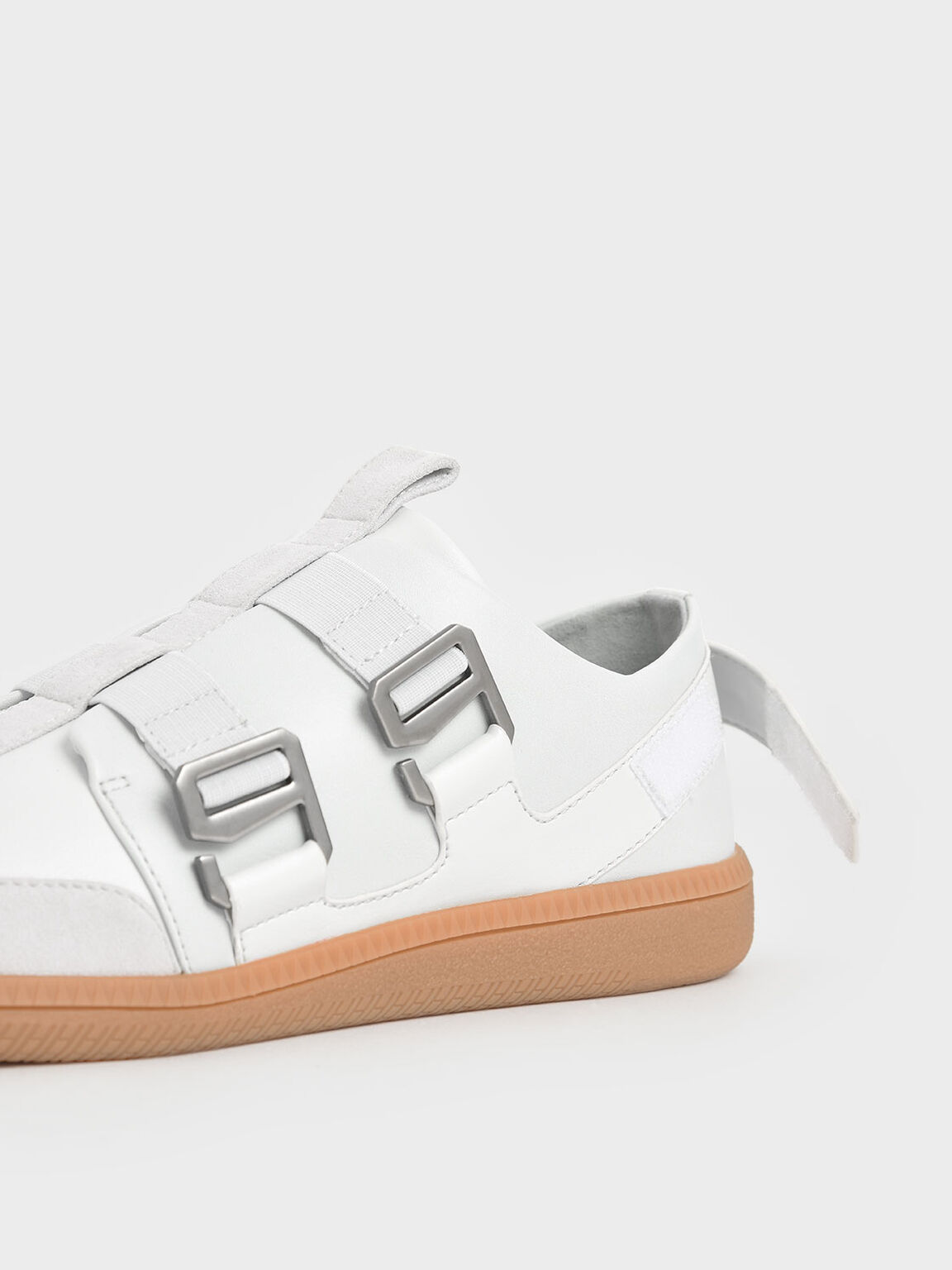 Buckle Slip-On Sneakers, White, hi-res