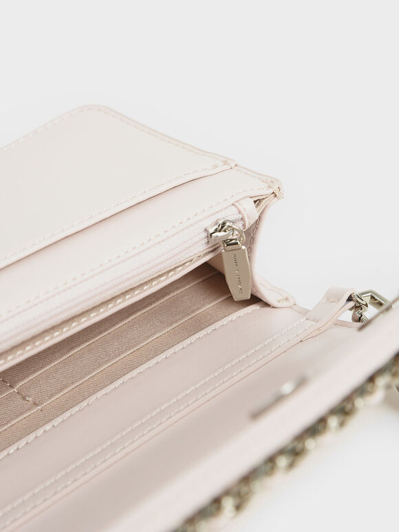 Chain-Trimmed Clutch, Pink, hi-res