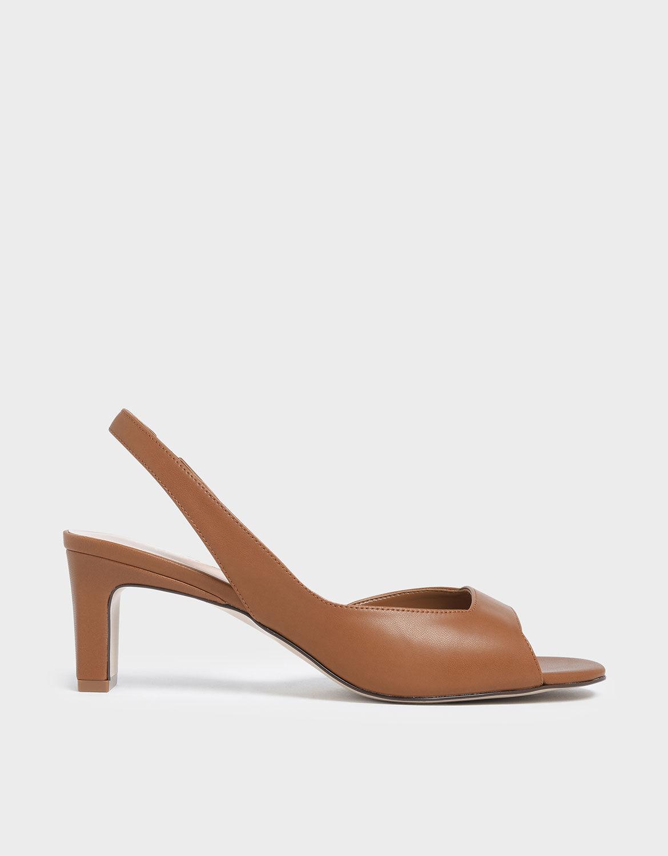 Brown Open Toe D'Orsay Slingback Heels