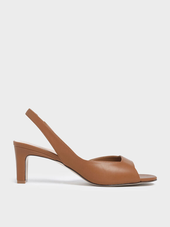 Open Toe D'Orsay Slingback Heels, Brown, hi-res