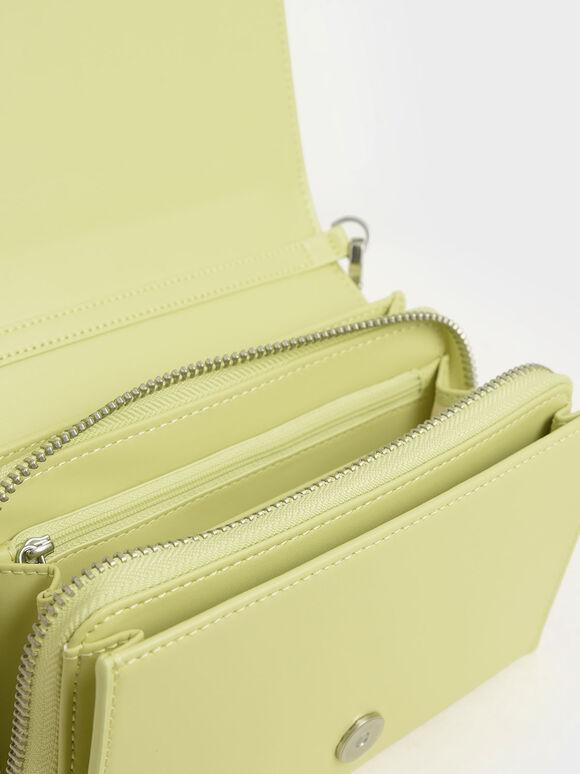 Metallic Edge Crossbody Bag, Lime, hi-res