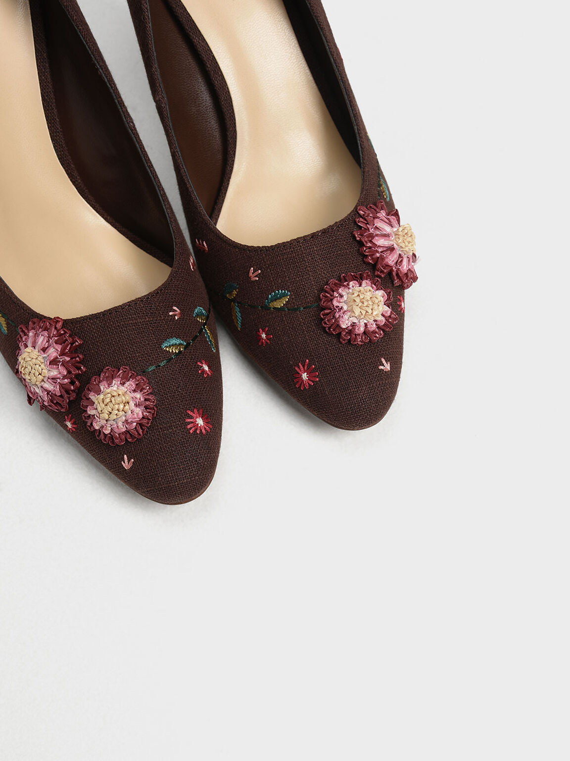 Floral Pumps, Brown, hi-res