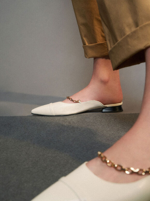 Leather Chain Link Flat Mules, White, hi-res