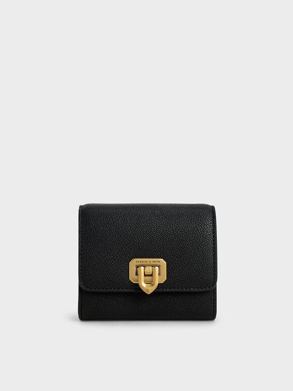 Classic Push-Lock Mini Wallet, Black, hi-res