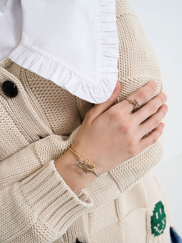 Two-Tone Sculptural Cuff Bracelet, Gold, hi-res