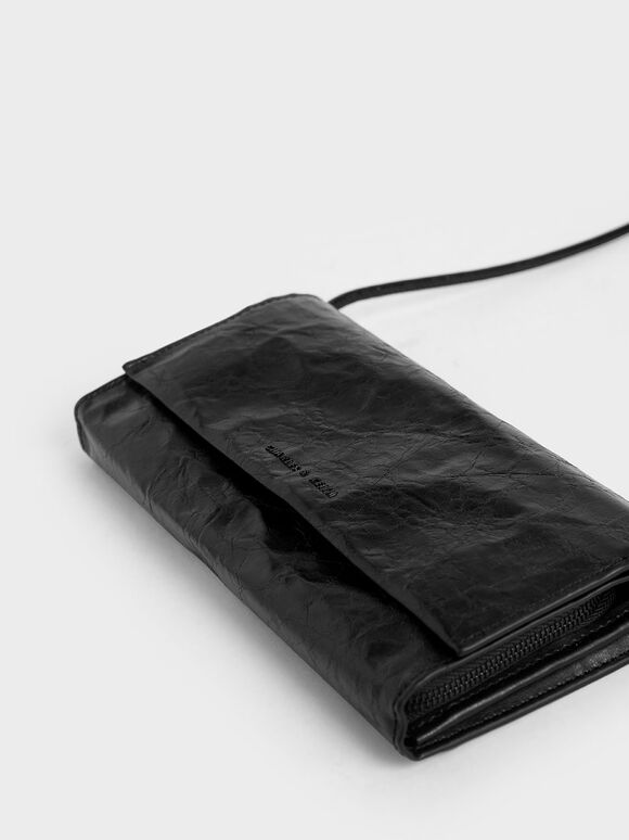 Crumpled-Effect Front Flap Long Wallet, Black, hi-res
