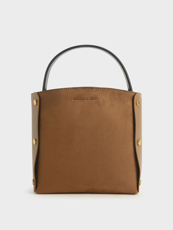 Textured Bucket Bag, Khaki, hi-res