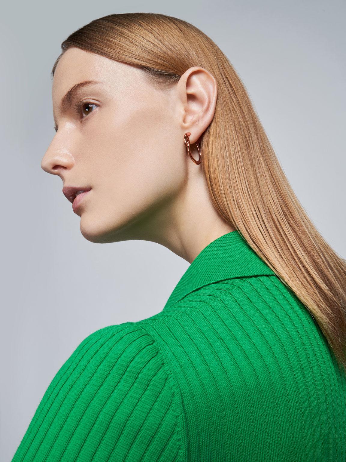 Swarovski® Crystal Embellished Heart Hoop Earrings, Rose Gold, hi-res