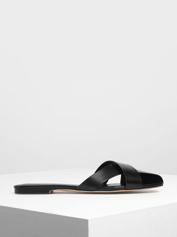 Asymmetrical Strap Slide Sandals, Black, hi-res