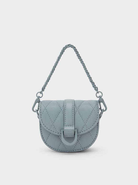 Micro Gabine Quilted Saddle Bag, Steel Blue, hi-res