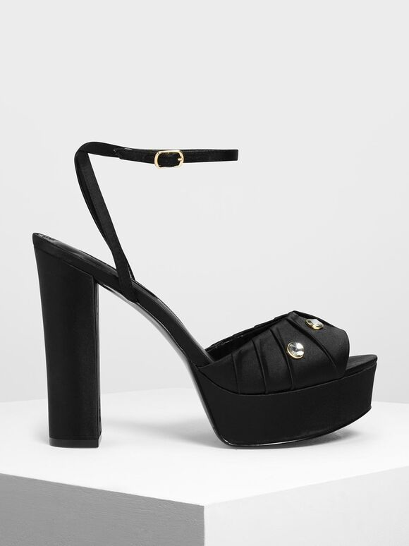 Bejeweled Satin Platforms, Black, hi-res