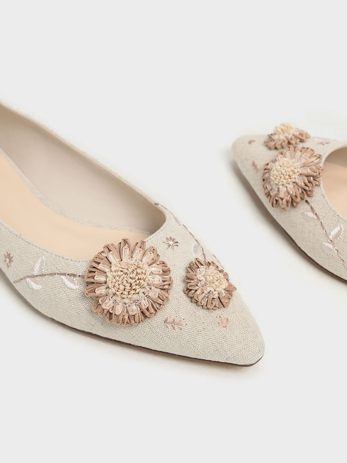 Floral Ballerinas, Taupe, hi-res