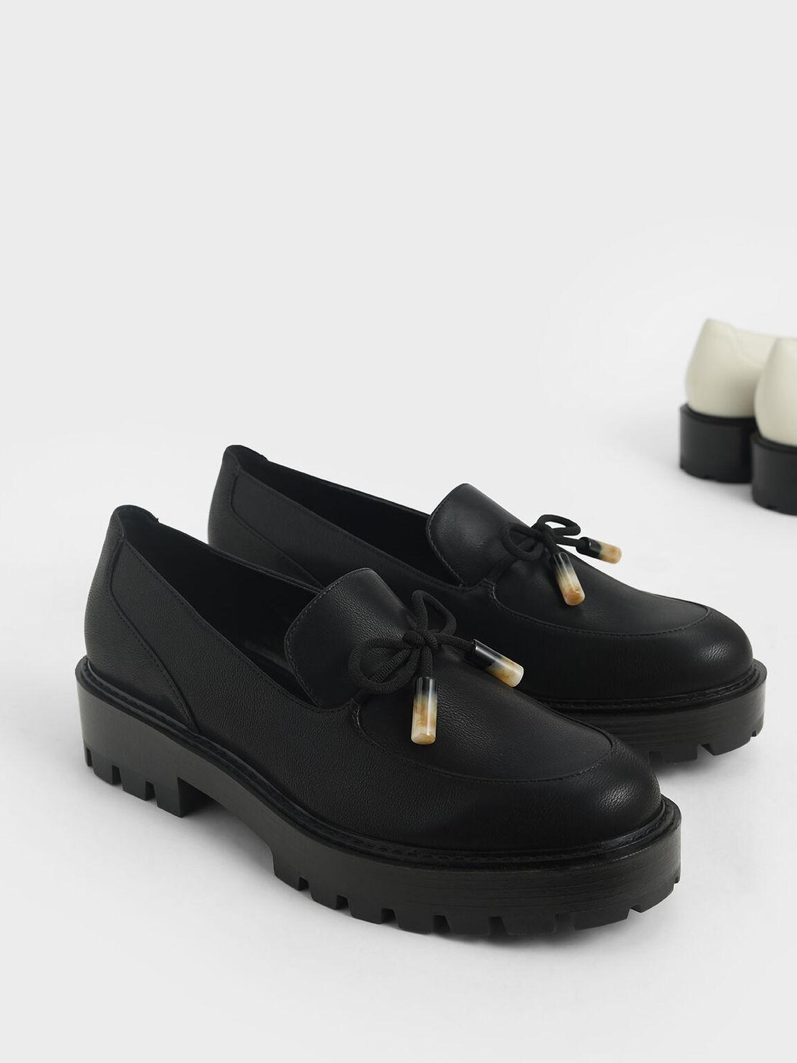 Embellished Bow Loafers, Black, hi-res
