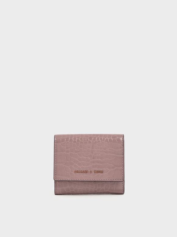 Croc-Effect Short Wallet, Mauve, hi-res