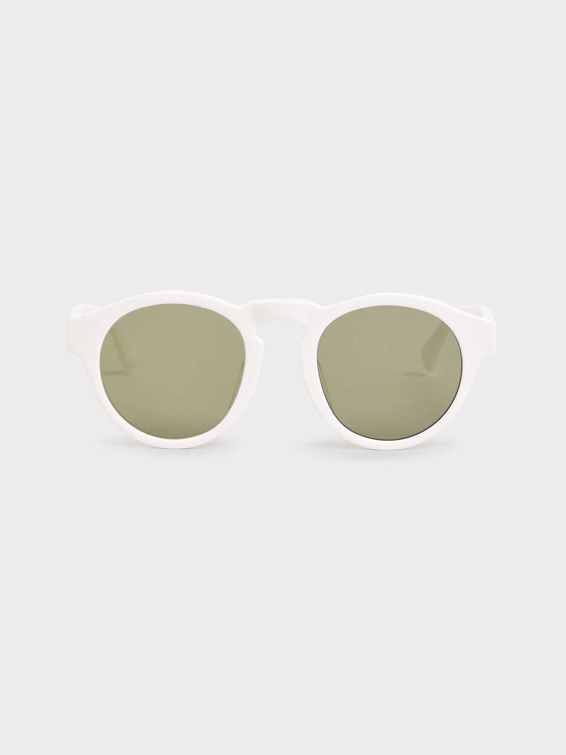 Round Acetate Sunglasses, White, hi-res
