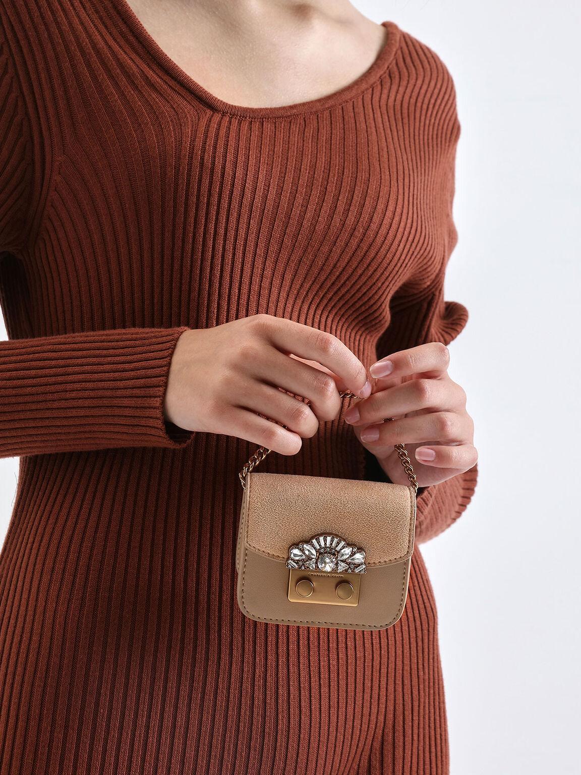 Mini Embellished Buckle Key Pouch, Beige, hi-res
