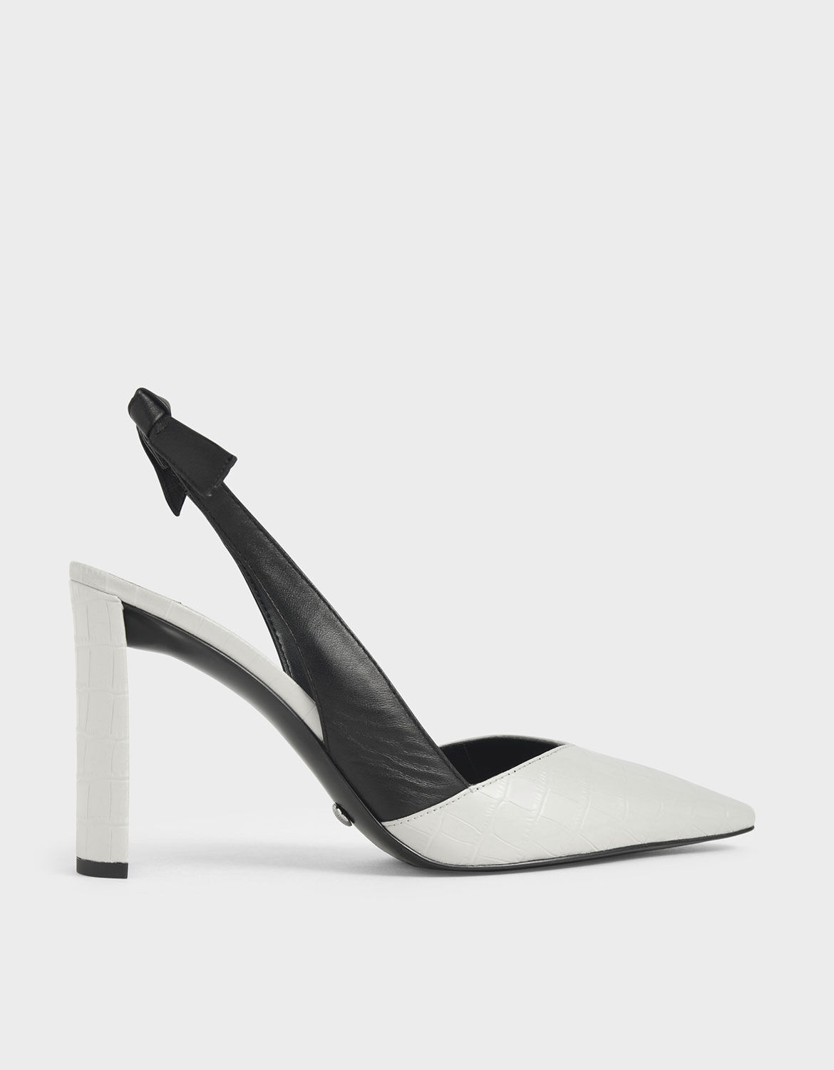 White Leather Croc-Effect Bow-Slingback