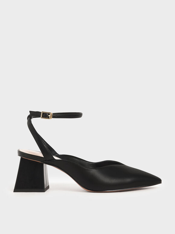 Sweetheart-Cut Pumps, Black, hi-res