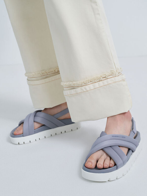 Recycled Polyester Padded Sports Sandals, Light Blue, hi-res