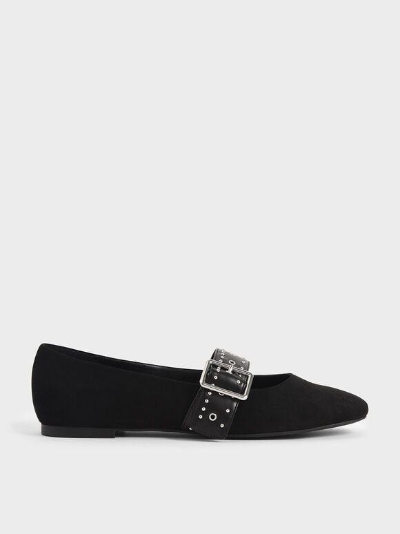 Textured Studded Mary Jane Flats, Black, hi-res