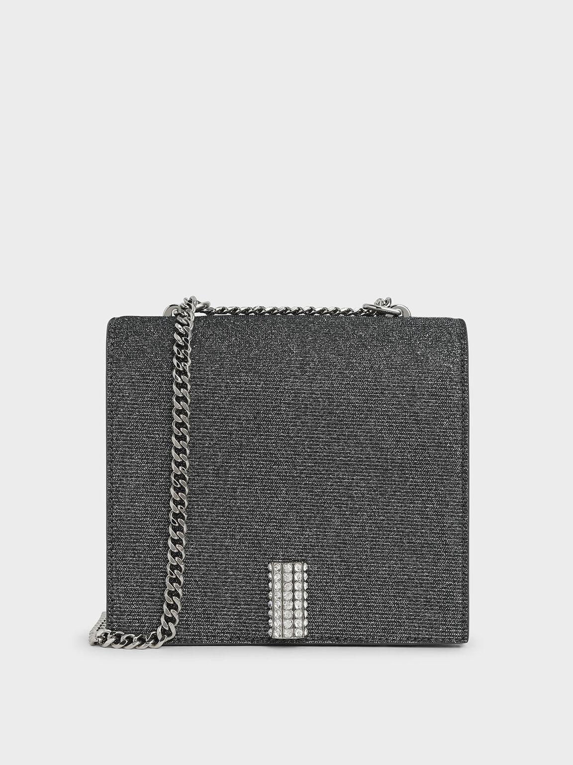 Glittered Square Crossbody Bag, Silver, hi-res