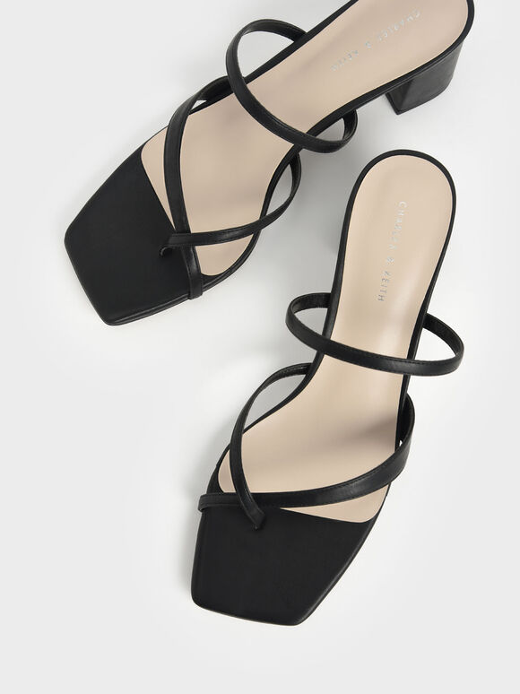 Block Heel Toe Loop Sandals, Black, hi-res