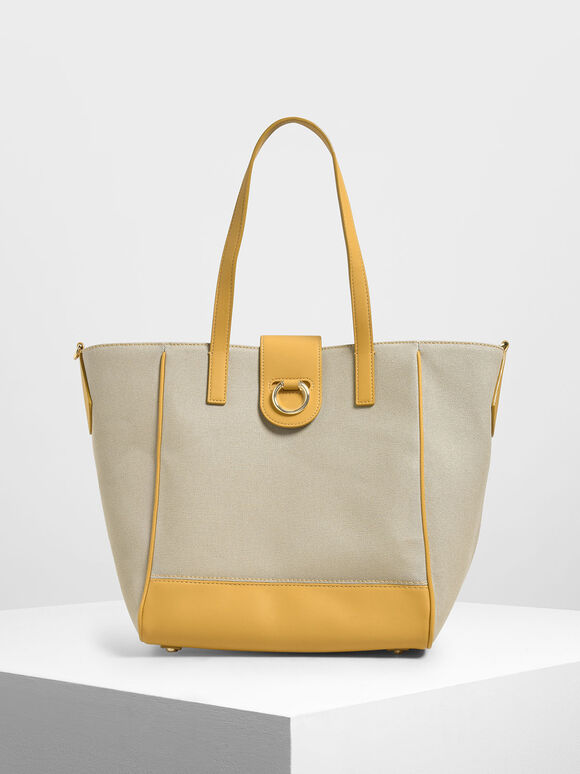Canvas Trapeze Tote Bag, Mustard, hi-res