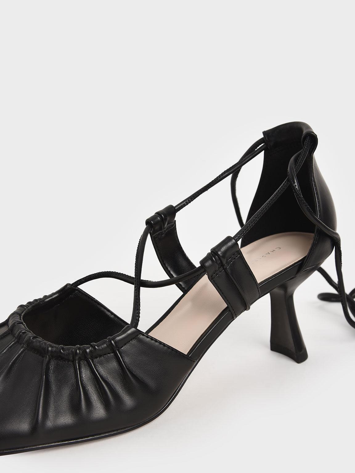 Ruched Ankle Tie Heels, Black, hi-res
