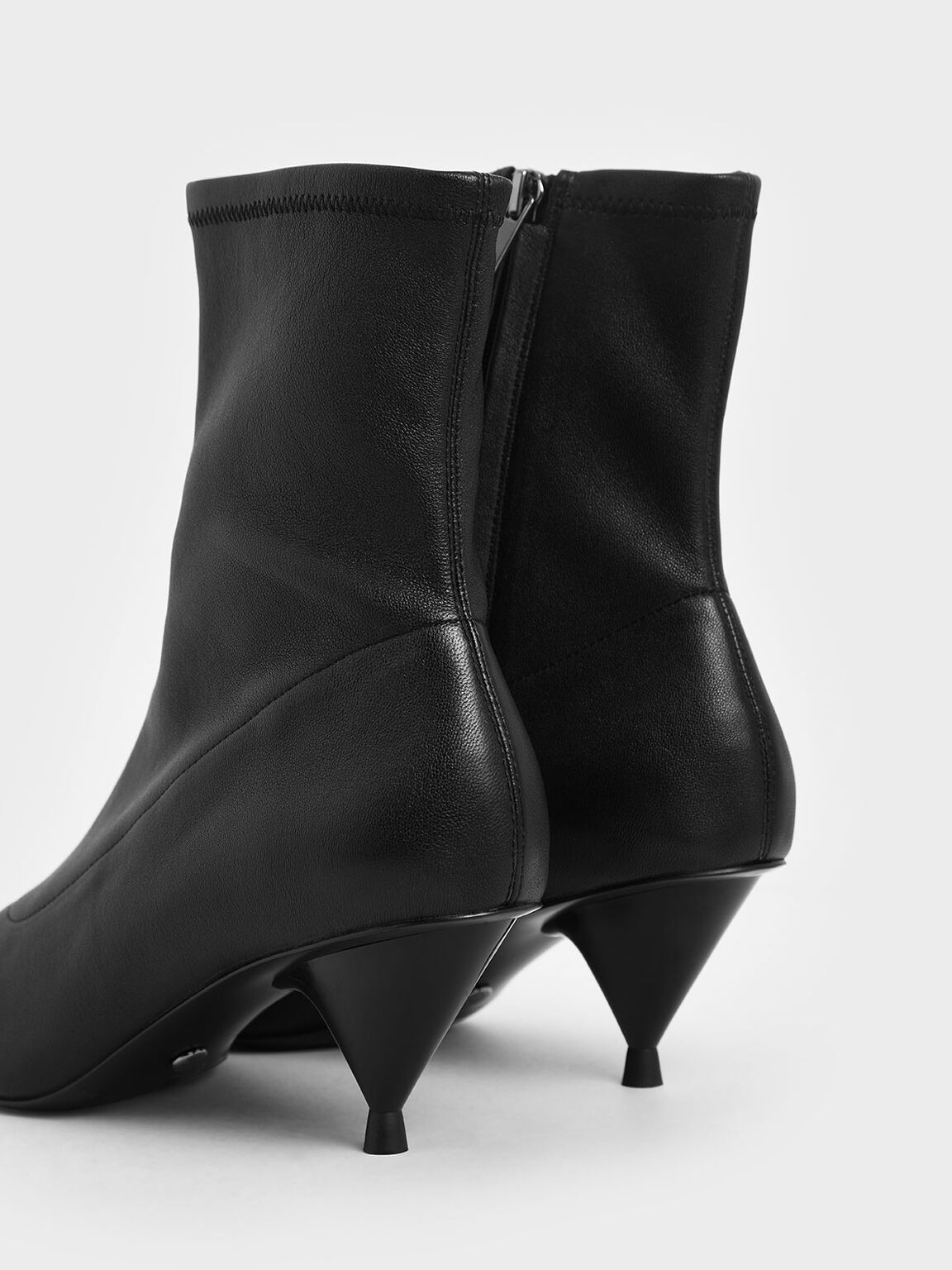 Leather Cone Heel Ankle Boots, Black, hi-res