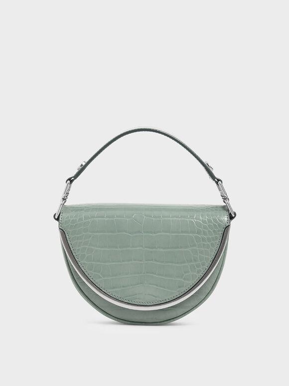 Croc-Effect Top Handle Semi-Circle Bag, Sage Green, hi-res