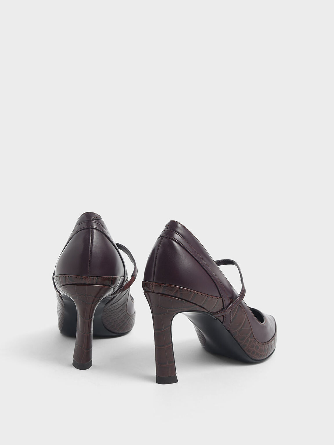 Croc-Effect Pointed Toe Mary Jane Sculptural Heels, Burgundy, hi-res