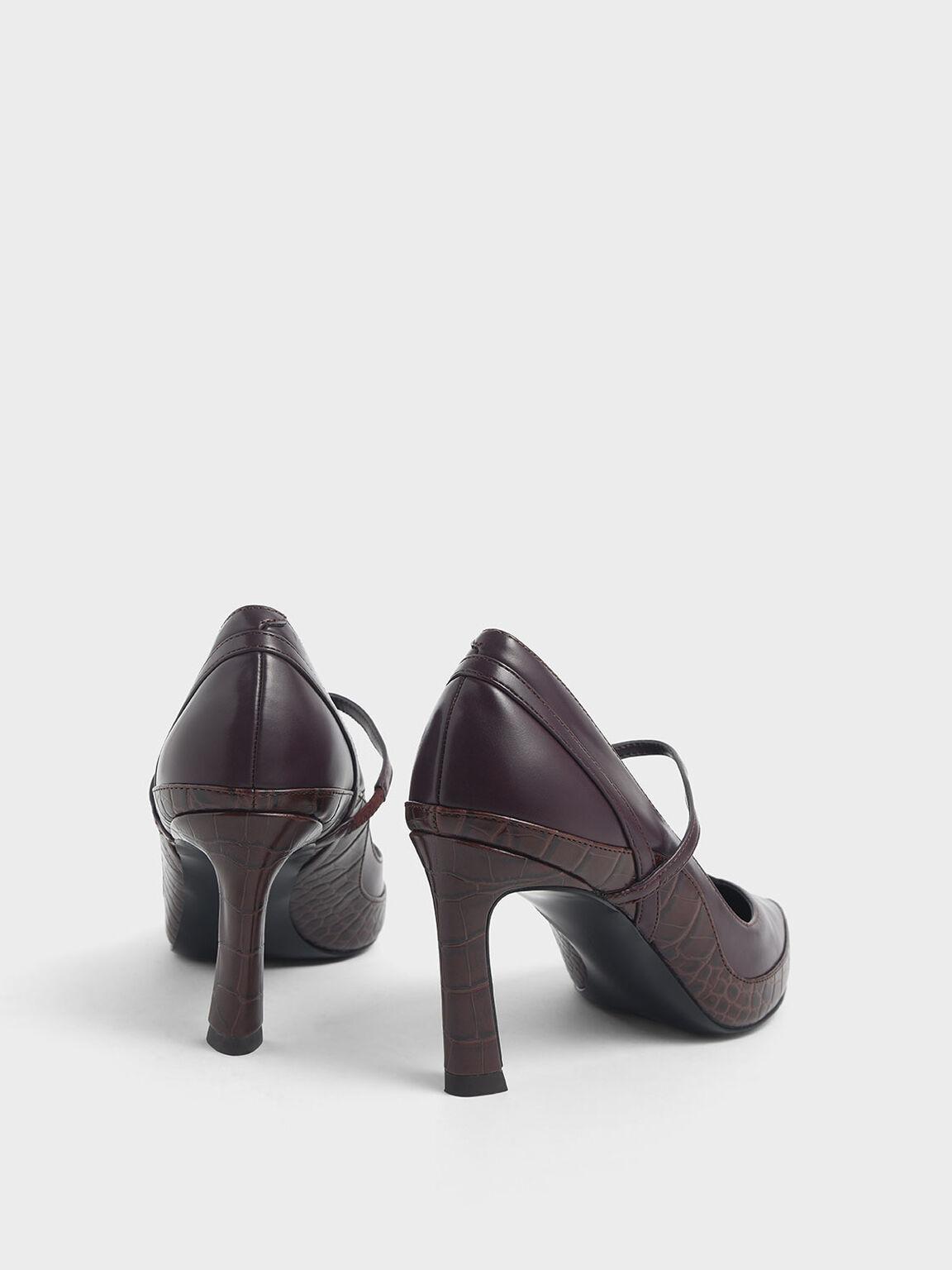 Croc-Effect Pointed Toe Mary Jane Sculptural Heels, Burgundy, hi-res