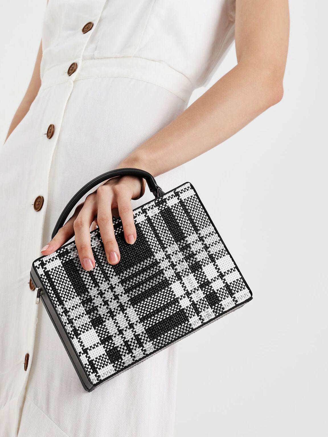 Woven Raffia Boxy Bag, Black, hi-res