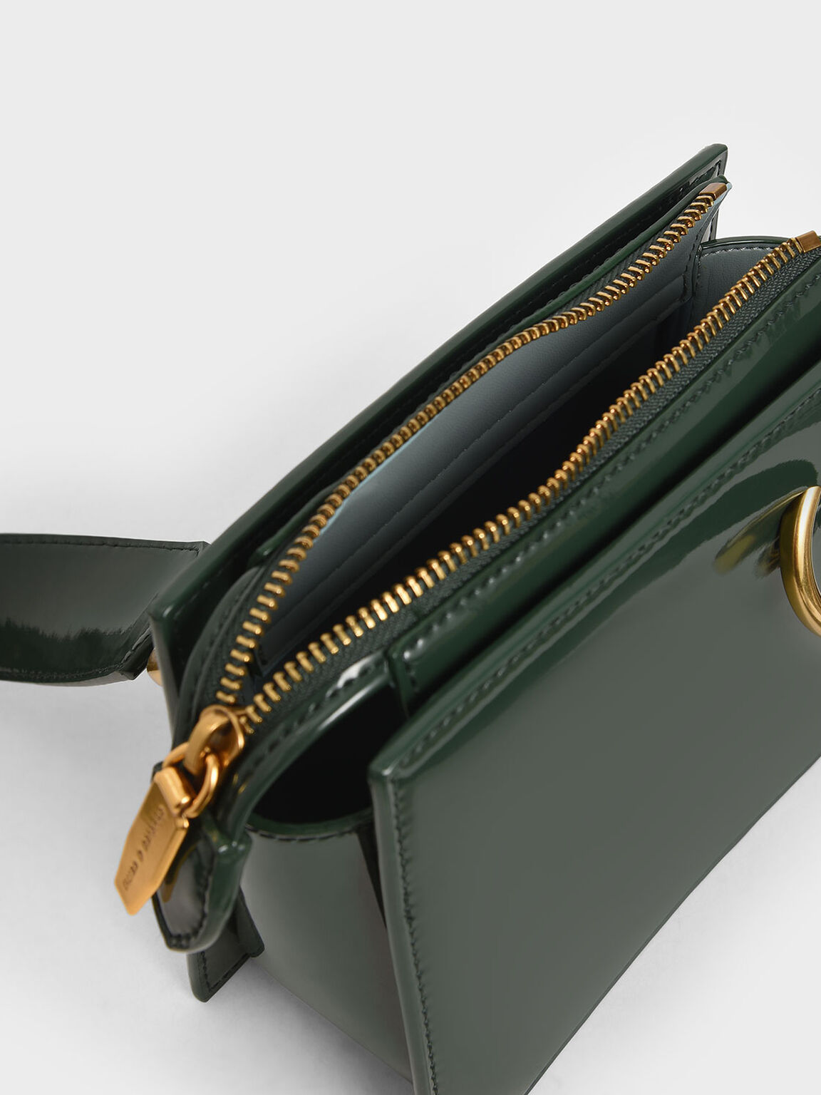 Patent Square Crossbody Bag, Dark Green, hi-res