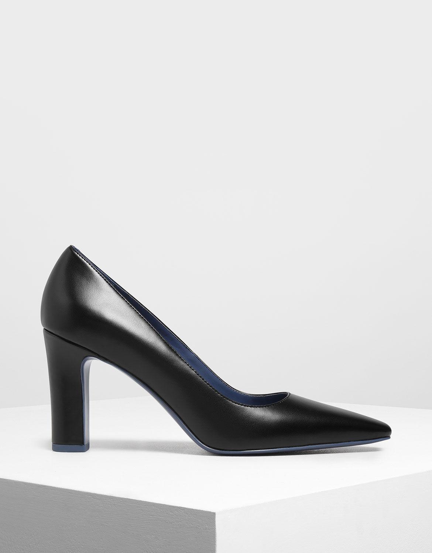 Black Pointed Toe Chunky Heel Pumps