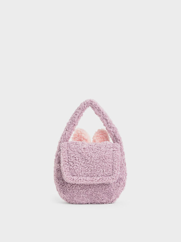 Girls' Furry Top Handle Bag, Lilac, hi-res