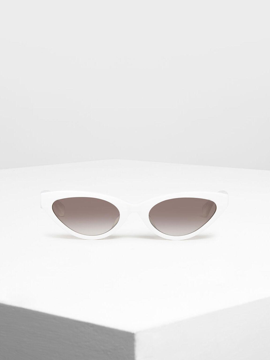 Acetate Oval Frame Sunglasses, White, hi-res