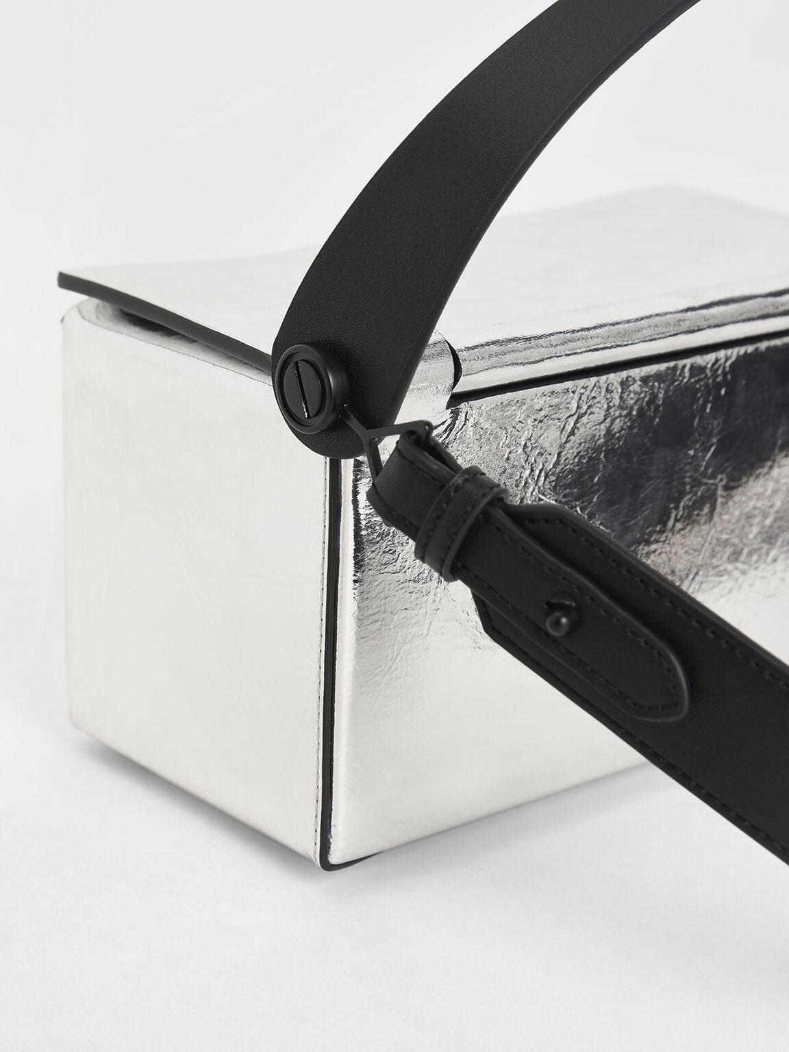 Metallic Top Handle Box Bag, Silver, hi-res