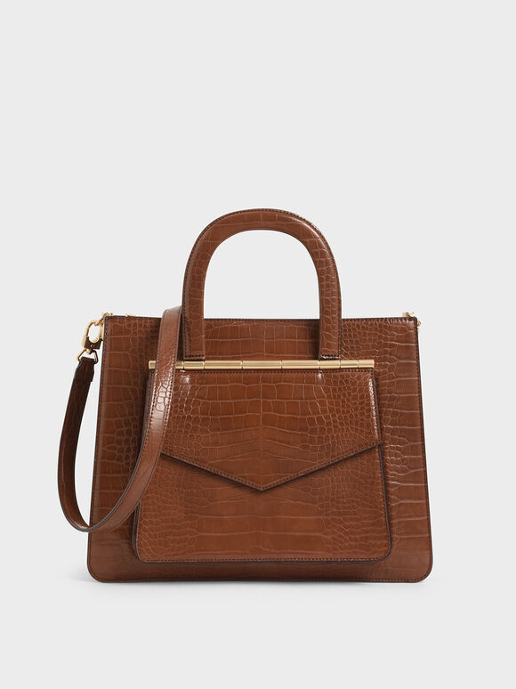 Croc-Effect Structured Tote Bag, Dark Brown, hi-res