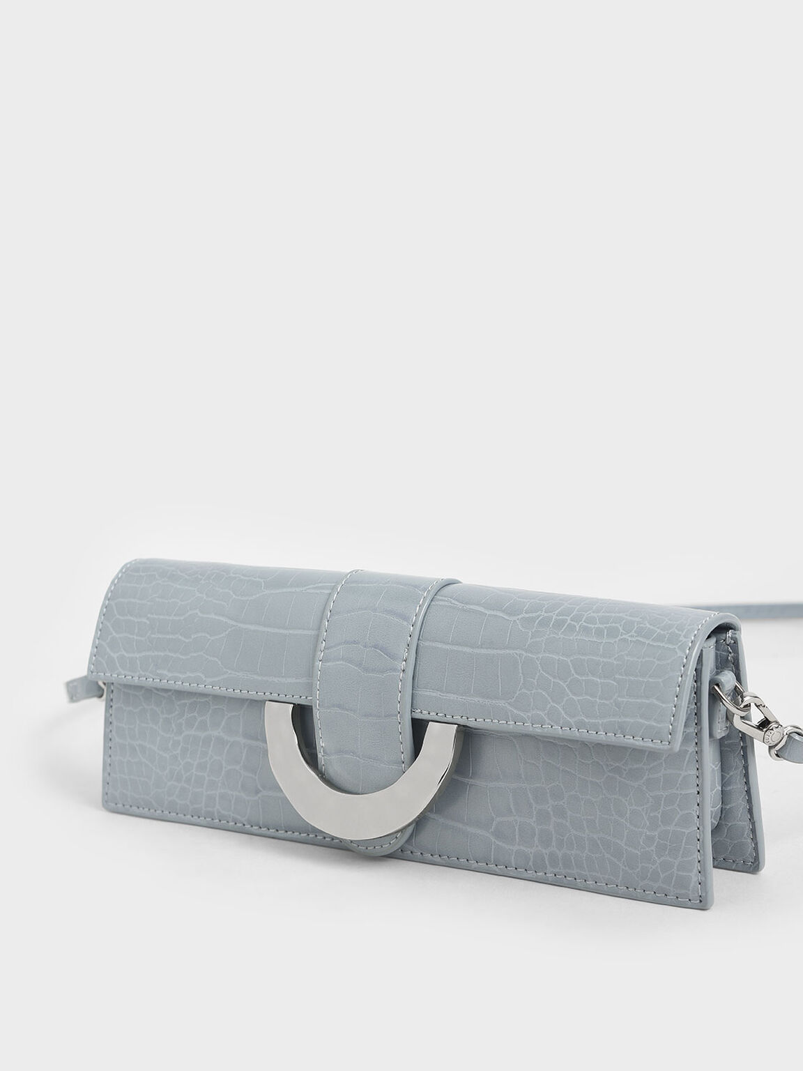Croc-Effect Long Clutch, Blue, hi-res