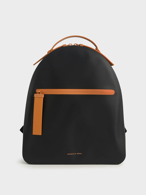 Front Zip Backpack, Black, hi-res