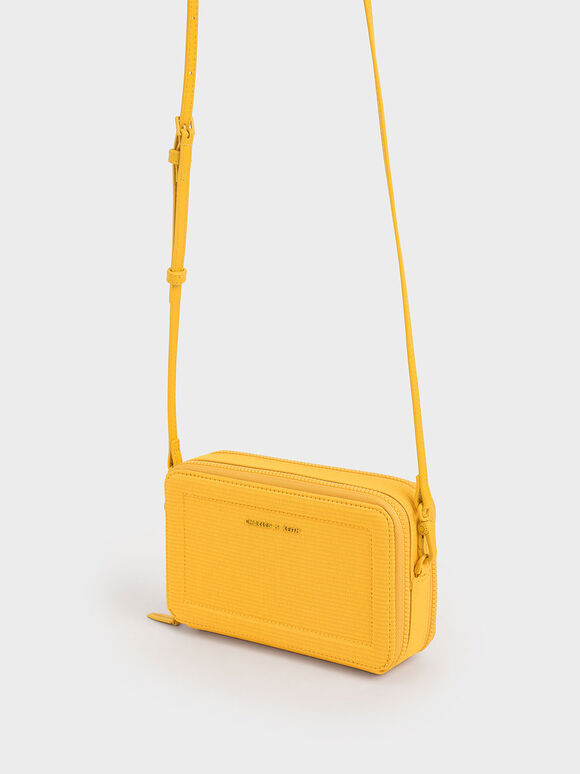 Grosgrain Stitch Trim Long Wallet, Yellow, hi-res