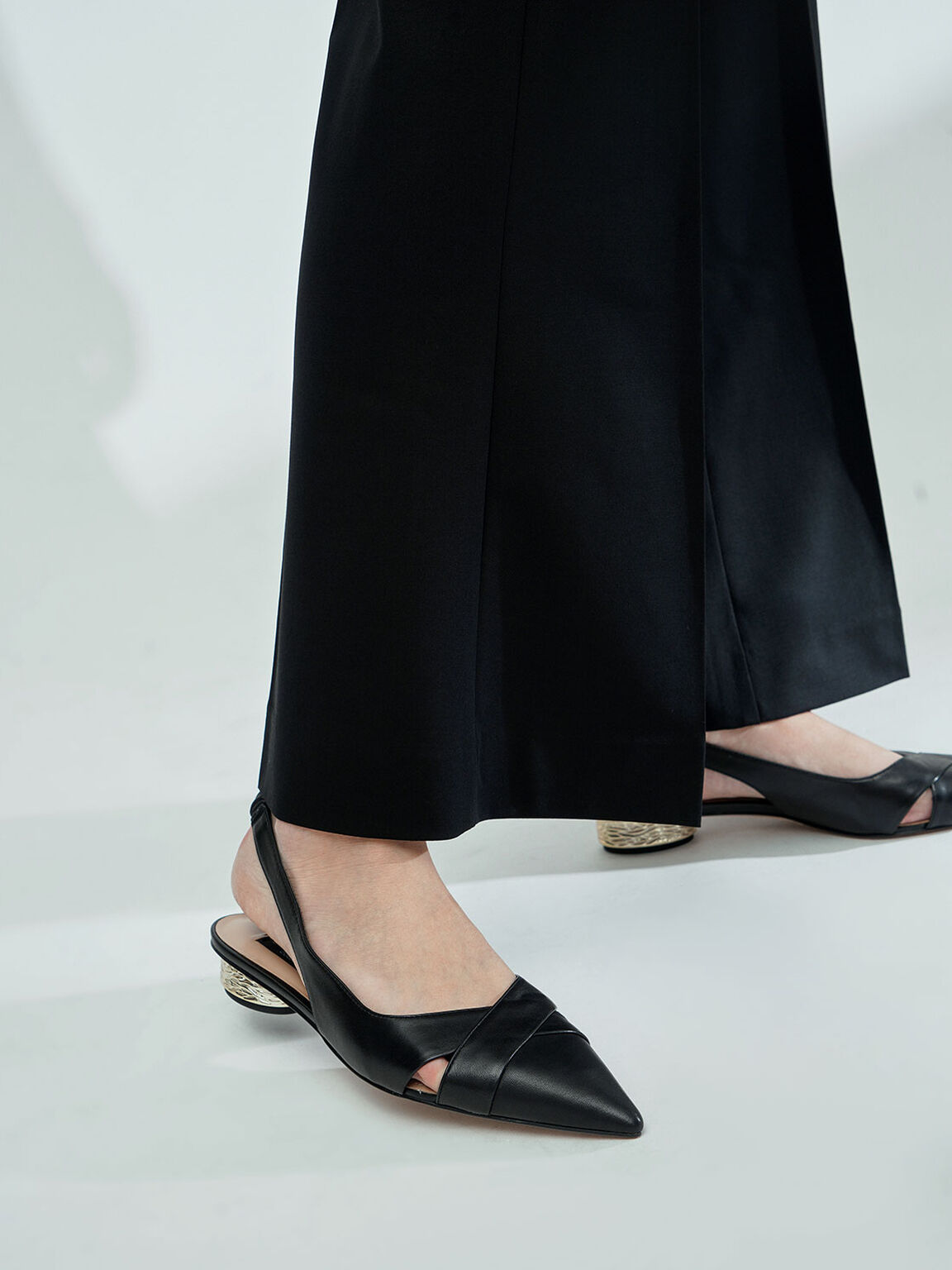 Leather Slingback Pumps, Black, hi-res