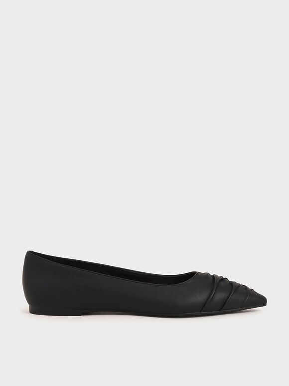 Ruched Ballet Pumps, Black, hi-res