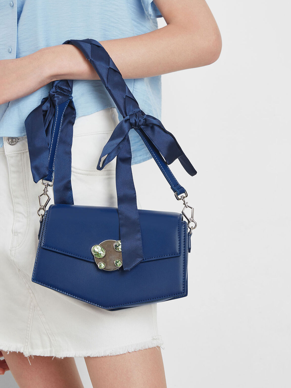 Embellished Push Lock Bag, Dark Blue, hi-res