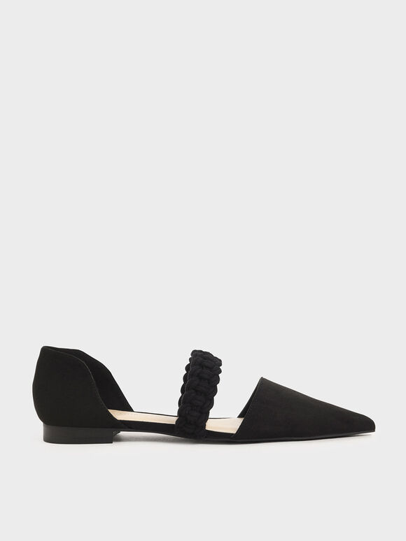 Braided-Strap Mary Jane Flats, Black Textured, hi-res